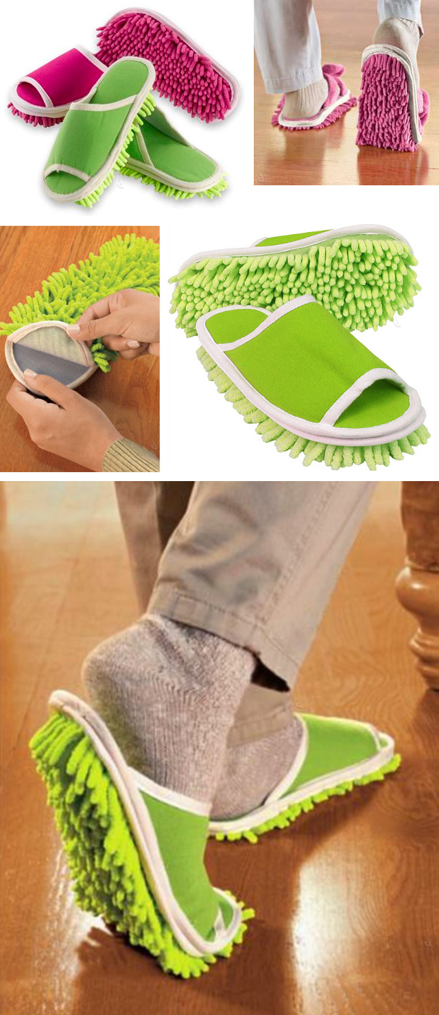 Microfibre slippers that dust, sweep and polish as you walk! Genius! | via A Designer Life